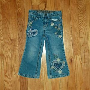 Toddlers Jeans with Heart Patchwork/Flower Stitch